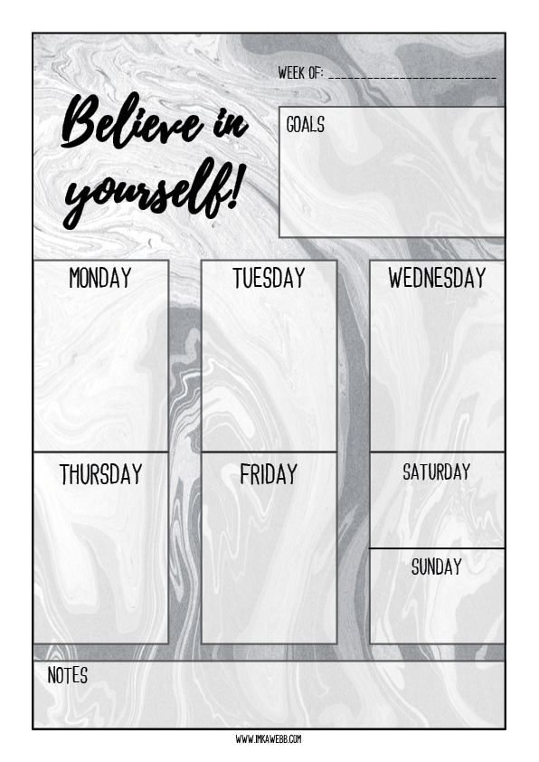 Weekly planner for bloggers in black marble free printable