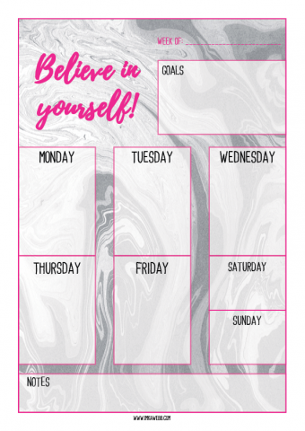 weekly planner for bloggers in pink marble design