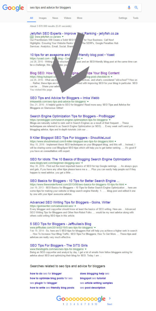 seo tips and advice for bloggers